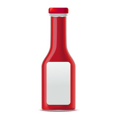 realistic glass bottle for tomato sauces or vector image