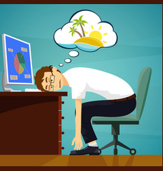Tired worker in the workplace dreaming about vector