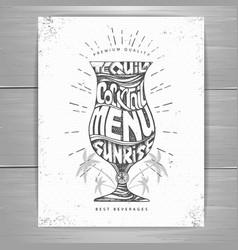 Vintage typography cocktail menu design vector