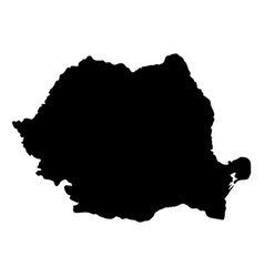black silhouette country borders map of romania vector image vector image