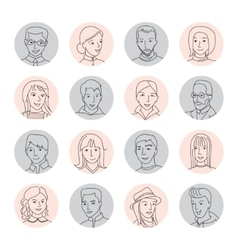 People avatar set thin line vector image