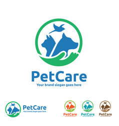 pet care logo with dog cat bird and hand symbols vector image vector image