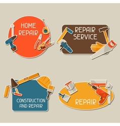 Repair and construction stickers set with working vector