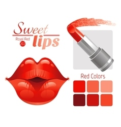 Sexy kissing woman lips with red lipstick and vector image vector image