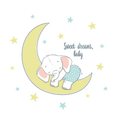 sweet dreams a little elephant sleep on the moon vector image