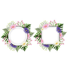 two flower frames with pink and purple flowers vector image vector image