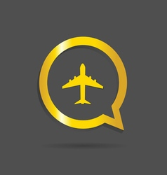 airplane gold icon vector image