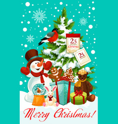 Winter christmas holiday snowman greeting vector