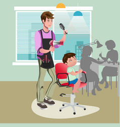 child getting a haircut at hairdresser vector image vector image