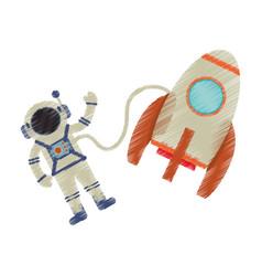 drawing astronaut rocket exploration image vector image
