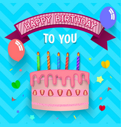 happy birthday cake in simple flat paper cut vector image vector image
