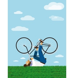 Hipster rides a bicycle in the sky vector image vector image