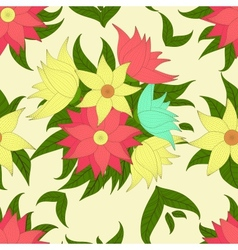 Retro seamless pattern with colorful flowers vector image