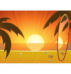 summer sunset and surfboard vector image vector image