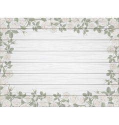 vintage border of white roses on wooden background vector image vector image