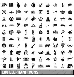 100 elephant icons set simple style vector