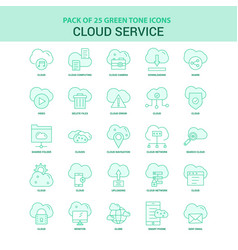 25 green cloud service icon set vector image