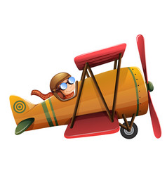 A man ride classic aircraft vector