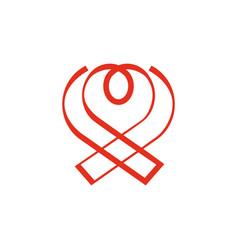Aids ribbon and heart combination logo vector