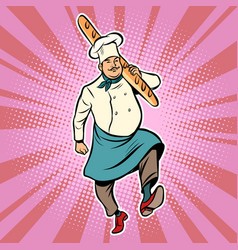 baker with a loaf of bread vector image