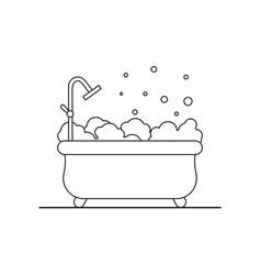 Bathtub flat icon bathroom outline vector