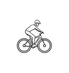 biker riding mountain bike hand drawn outline vector image