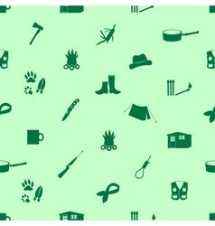 Black backwoodsman icons seamless green pattern vector