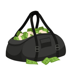 Black bag with stolen money isolated on white vector