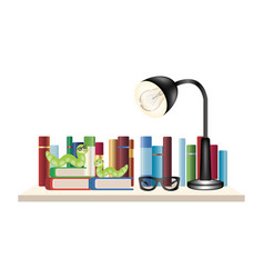 book worm on a book shelf with books reading glass vector image
