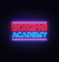 boxing academy neon signs boxing text vector image