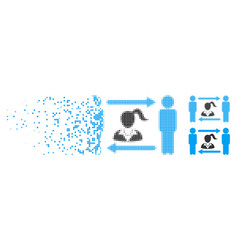 Broken pixel halftone swingers exchange woman icon vector