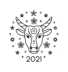 bull in line art style vector image