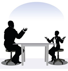 Business man and woman silhouette in meeting pose vector