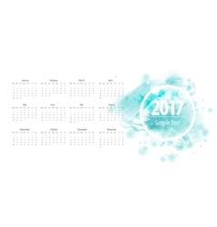 Calendar blue 2017 week starts from sunday vector image