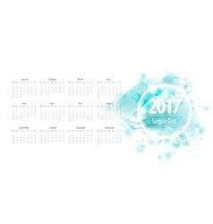 Calendar blue 2017 week starts from sunday vector