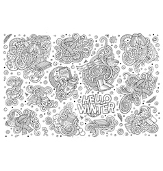 Cartoon set of Winter season doodles designs vector
