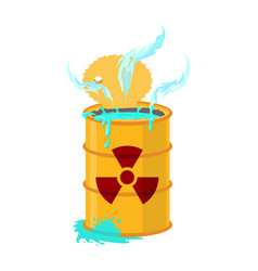 Chemical waste yellow barrel toxic refuse keg vector