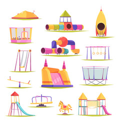 Children playground elements set vector