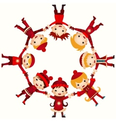 Christmas children in circle isolated on white vector image