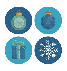 christmas round icons vector image