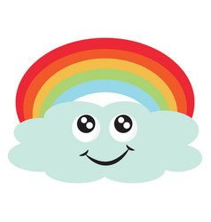 cloud with rainbow on white background vector image