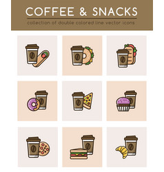 Coffee cup and different fast food vector