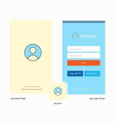Company profile splash screen and login page vector