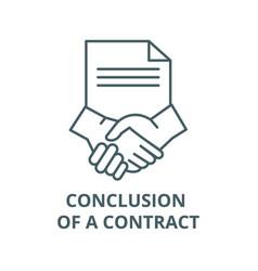 Conclusion a contract line icon vector