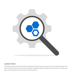 Connection of cells molecule icon search glass vector