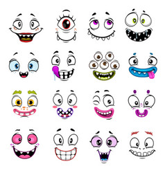 Cute monster faces halloween emoticons and emojis vector