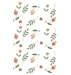 Cute tulips pattern white background red flowers vector