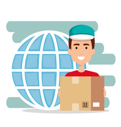 Delivery worker with box character vector