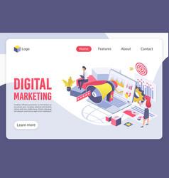 Digital marketing isometric landing page vector