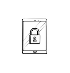 digital tablet with padlock hand drawn outline vector image